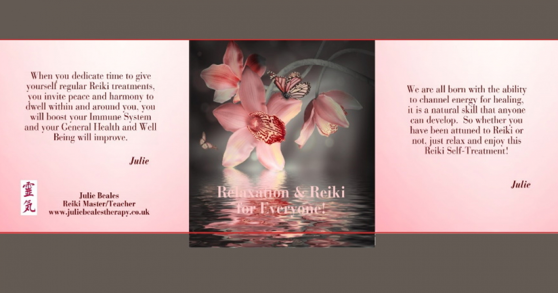 Pink orchid flower and text relaxation and reiki for everyone